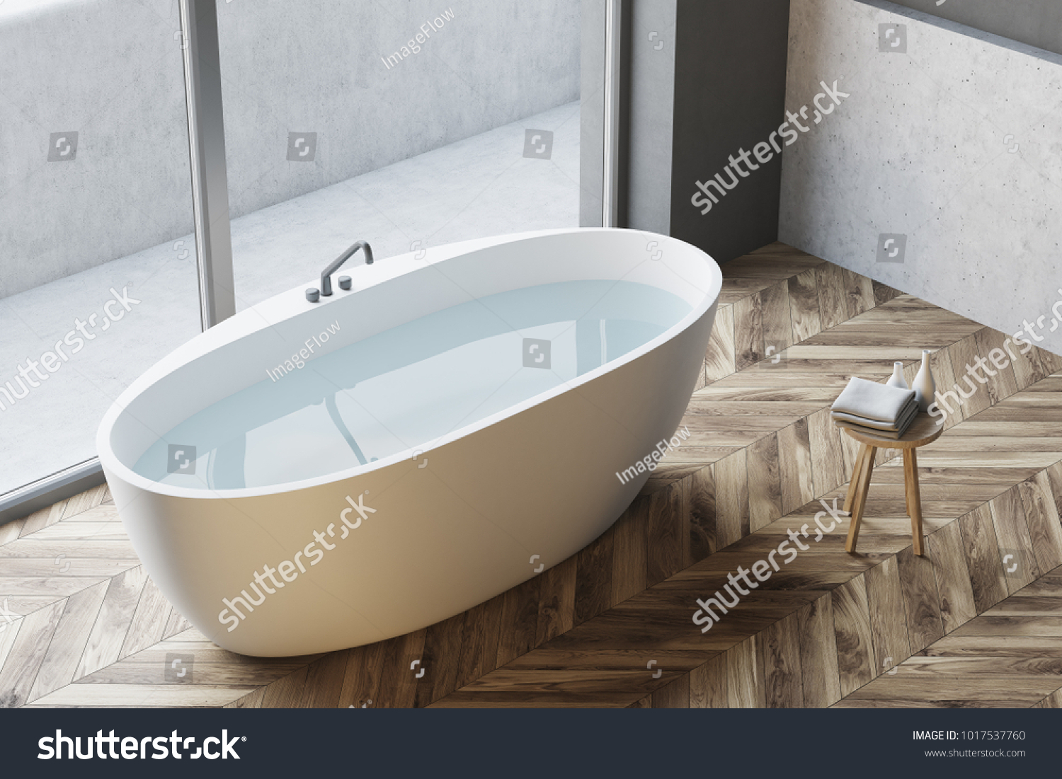 Top View White Bathtub Water Standing Stock Illustration 1017537760 ...