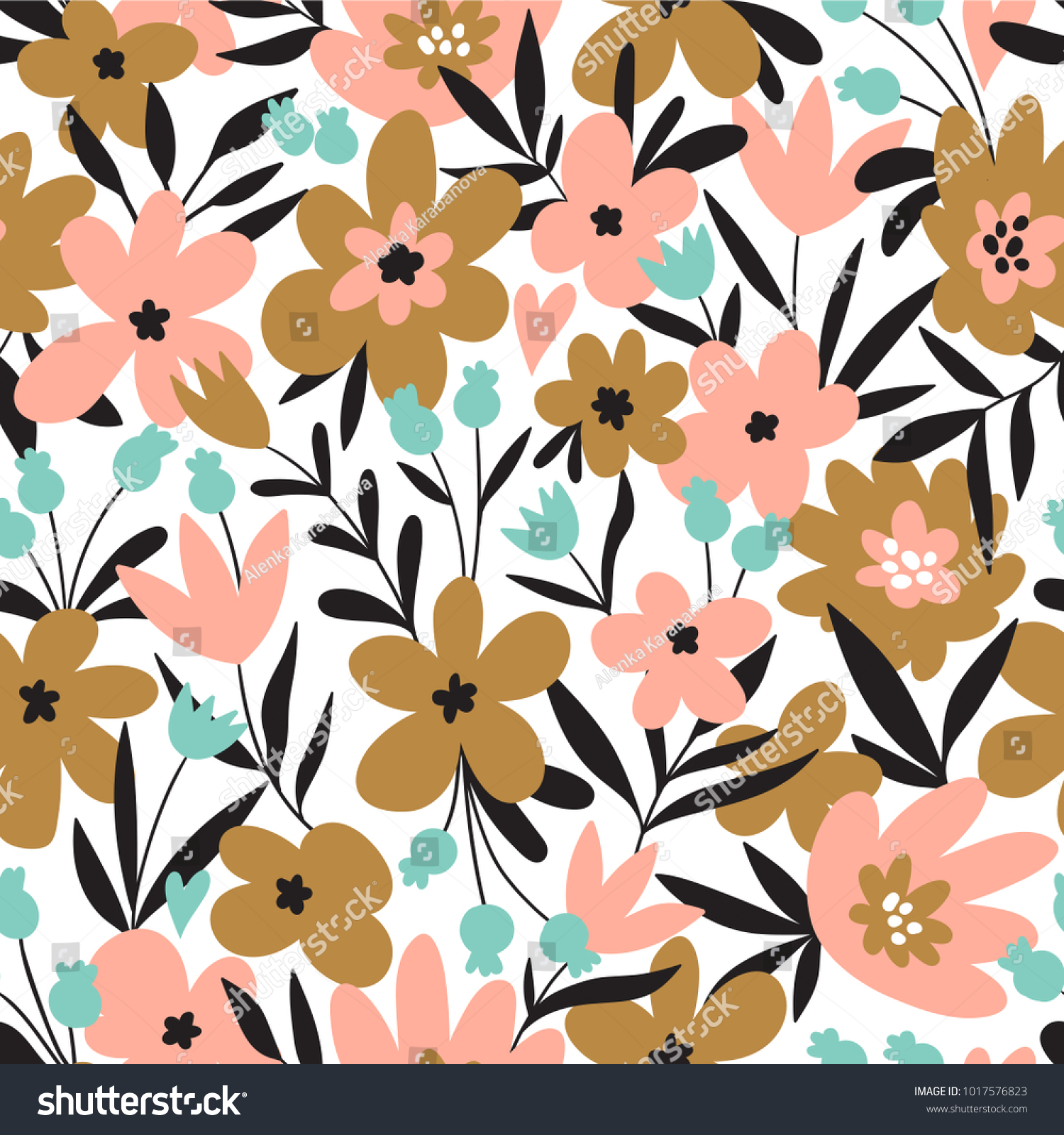 Trendy Seamless Floral Ditsy Pattern Fabric Design With Simple Flowers Vector Cute Repeated