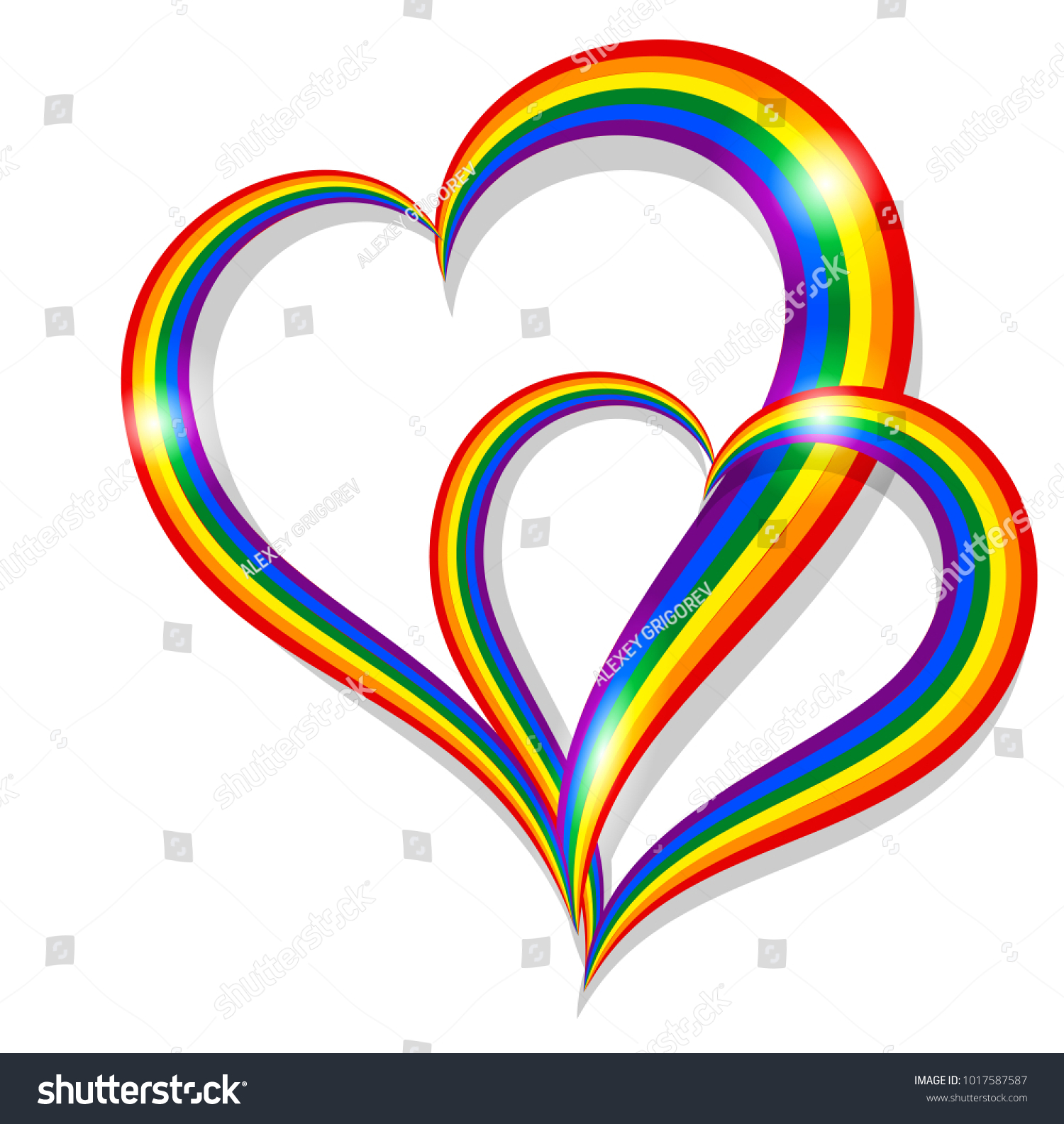 Two Rainbow Pride Heart Shape Symbol Stock Illustration 1017587587