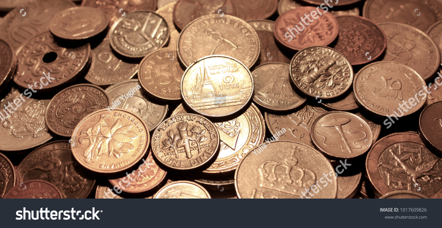 Background Coins Currencies Different Countries Symbol Stock Photo