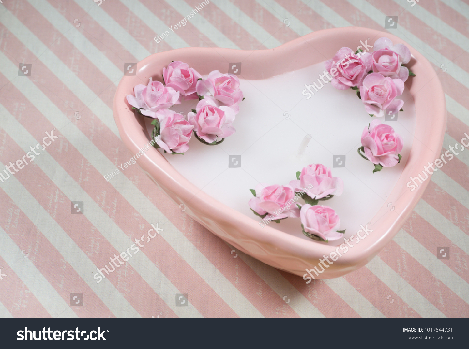 Decoration For Valentines Day Pink Heart Shaped Candle With Little