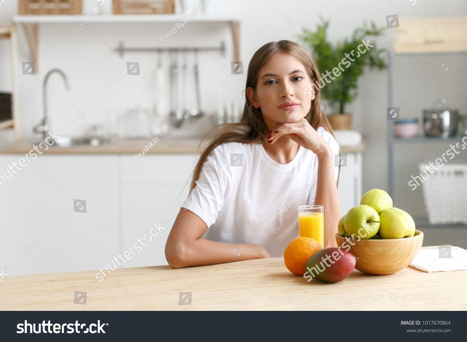 Woman On Kitchen Fruits Other Food Stock Photo (Royalty Free ...