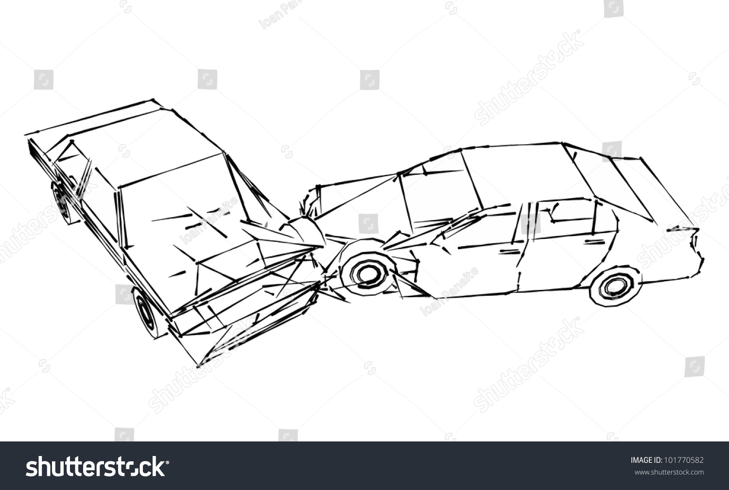 Car Crash Accident Sketch Stock Illustration 101770582 - Shutterstock