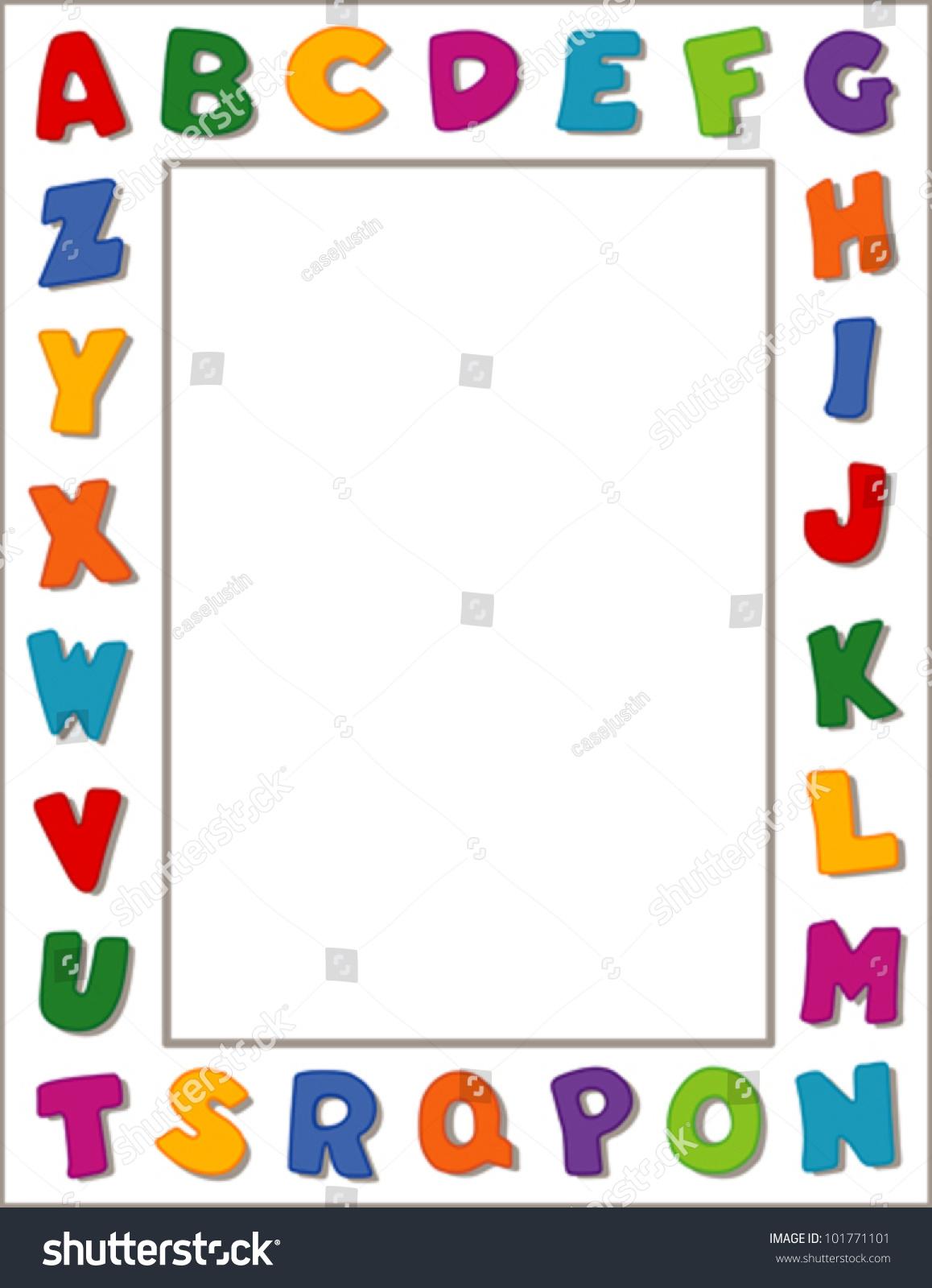 Alphabet Frame Bright Letters White Border Stock Vector 101771101 ...