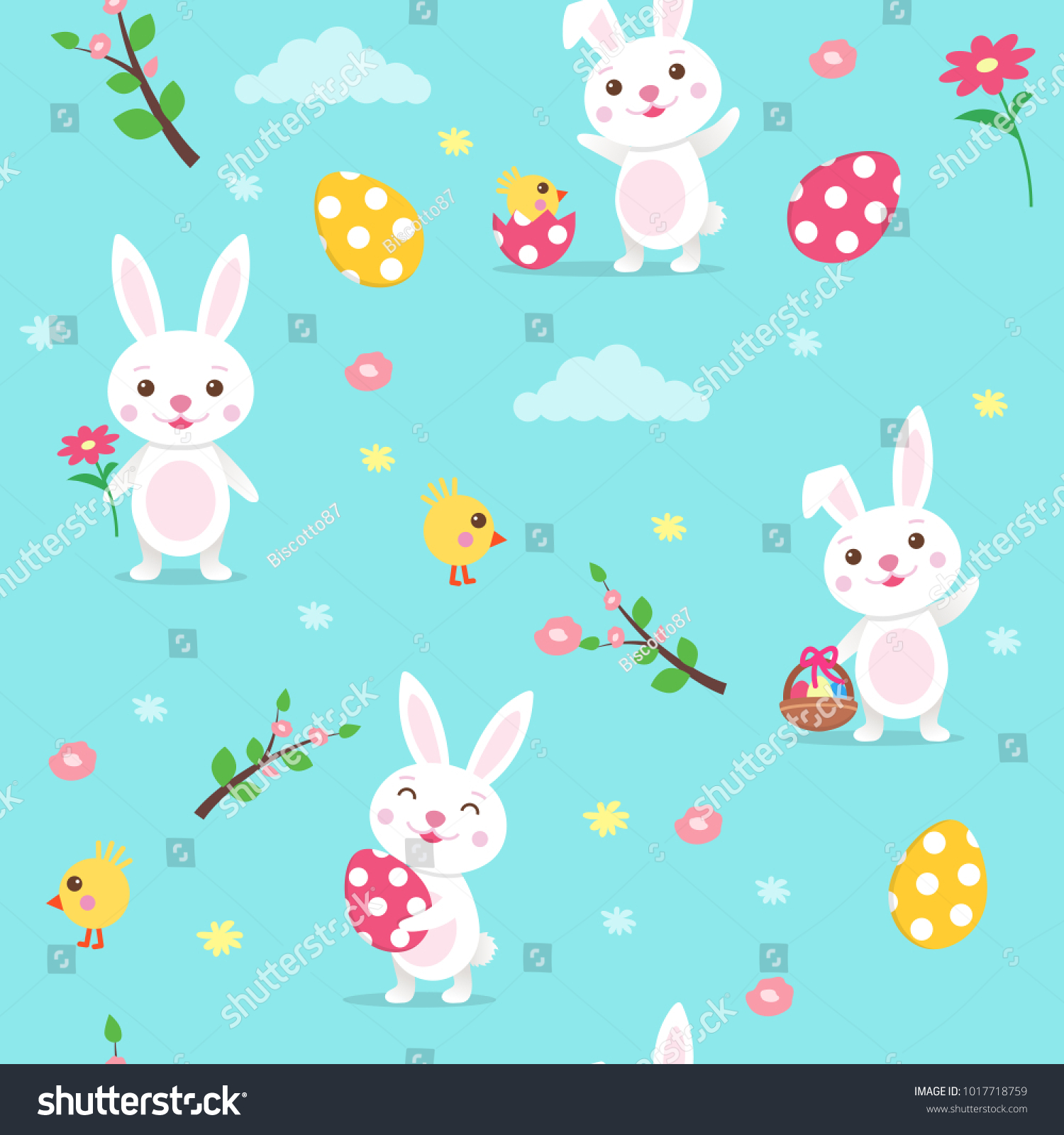 Happy Easter Seamless Vector Pattern With Cute Cartoon Easter Bunny