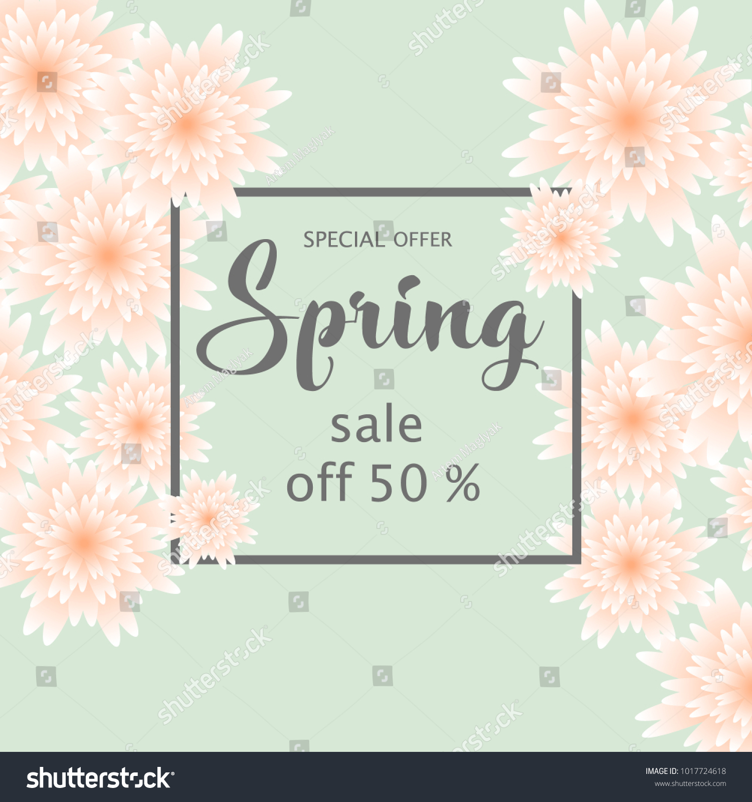 Spring sale banner paper flowers online stock vector 1017724618 spring sale banner with paper flowers for online shopping advertising actions magazines and websites mightylinksfo