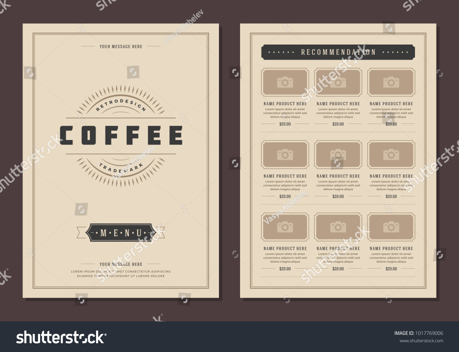Coffee Shop Logo And Menu Design Vector Brochure Template.