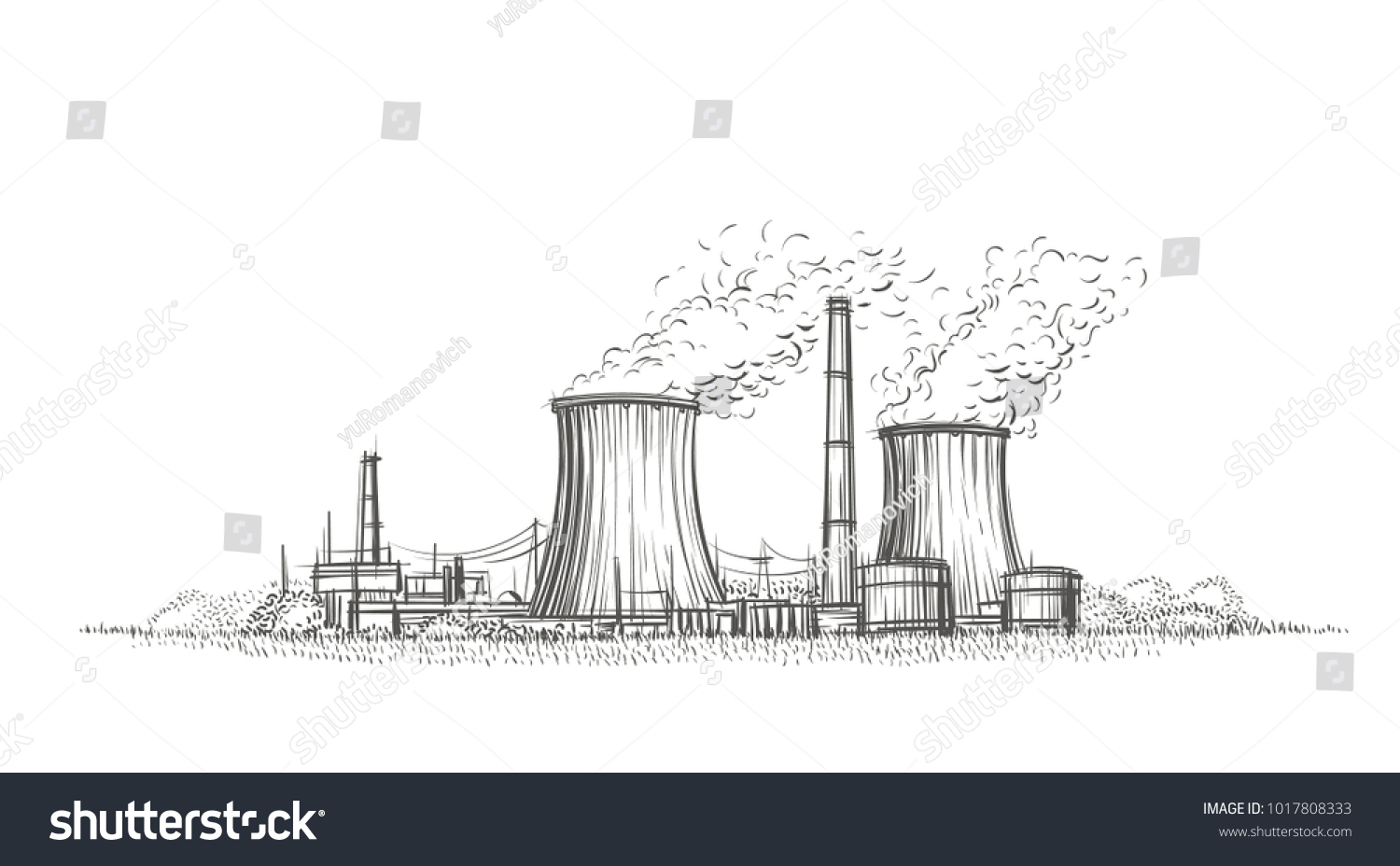 Nuclear Power Plant Hand Drawn Sketch Stock Vector Royalty Free Schematic Diagram