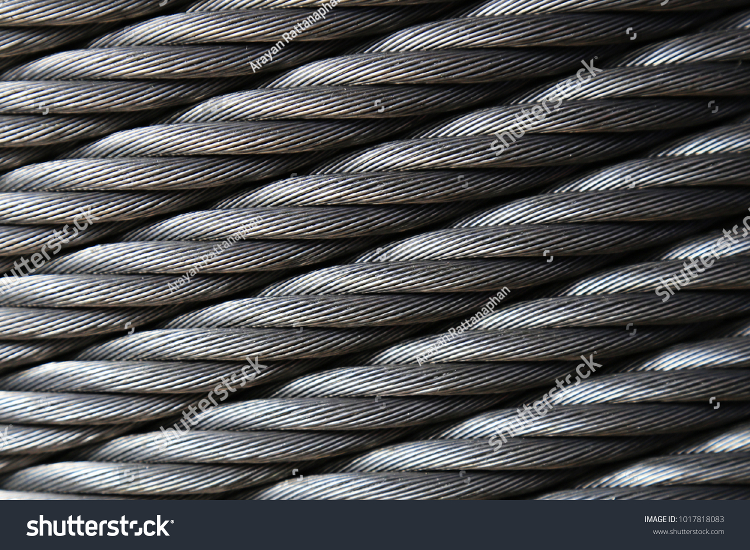Closeup Heavy Duty New Steel Cable Texture Stock Photo (Edit Now ...