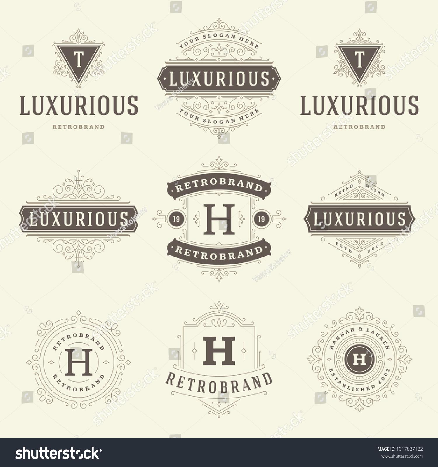 luxury logos templates set flourishes calligraphic stock vector