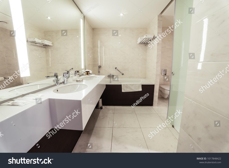 Modern Warm Designer Bathroom Shower Tiling Stock Photo (Edit Now ...