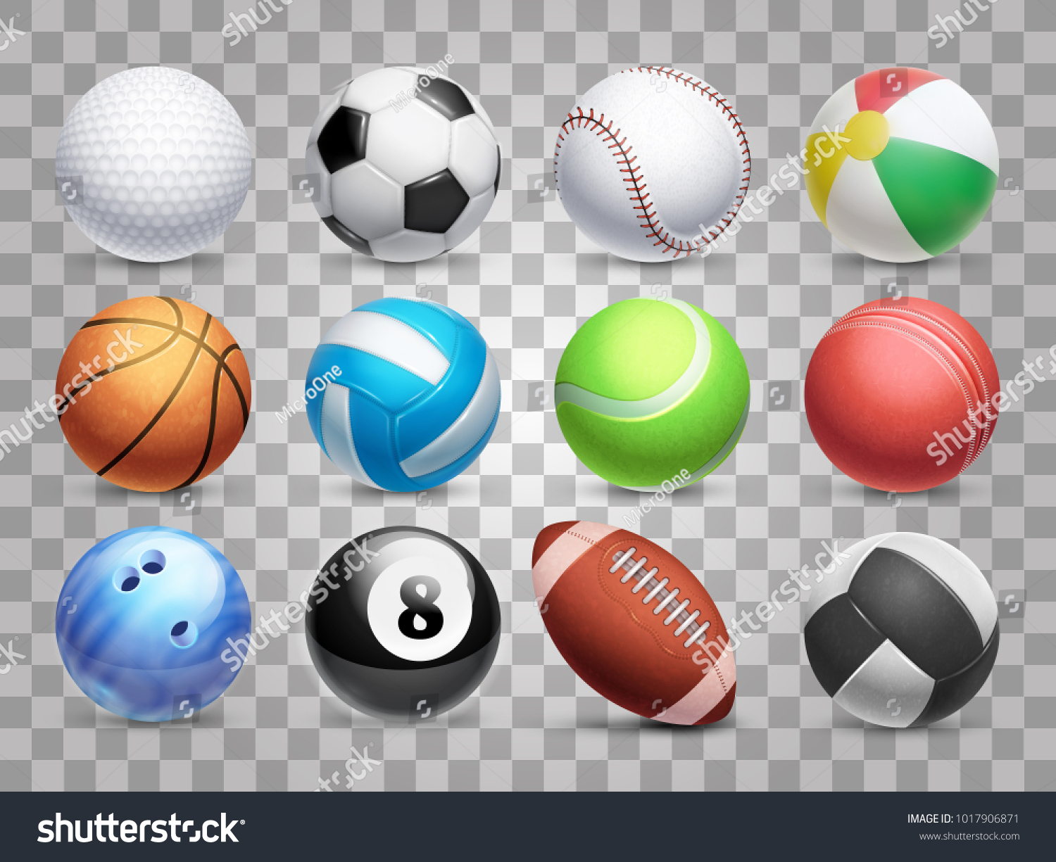 Realistic sports balls vector big set isolated on transparent background. Illustration of soccer and baseball, football game and tennis