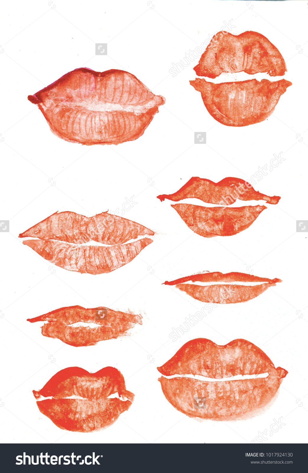 Watercolour Red Lips Set St Valentines Stock Illustration 1017924130