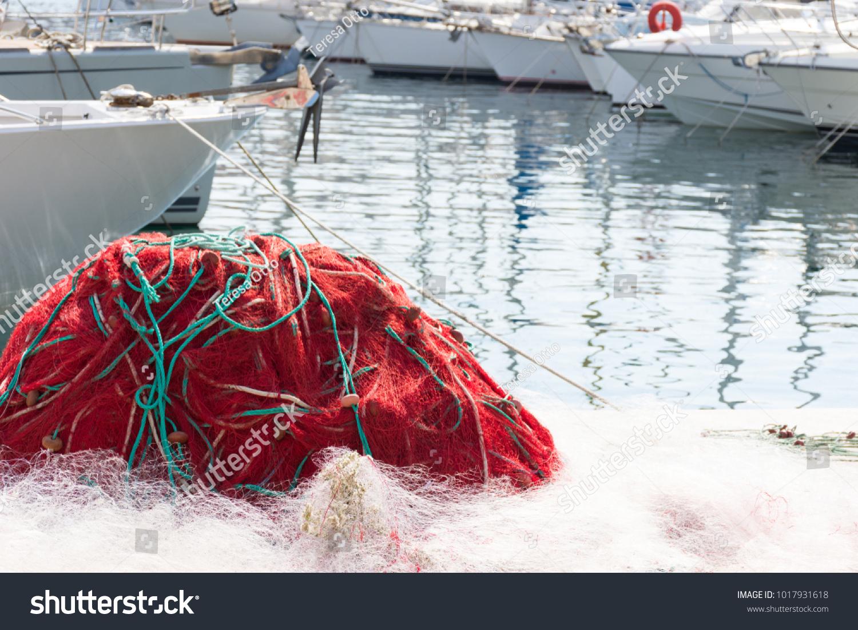 Tangle Red Fishing Net Aquamarine Rope Stock Photo (Royalty Free ...