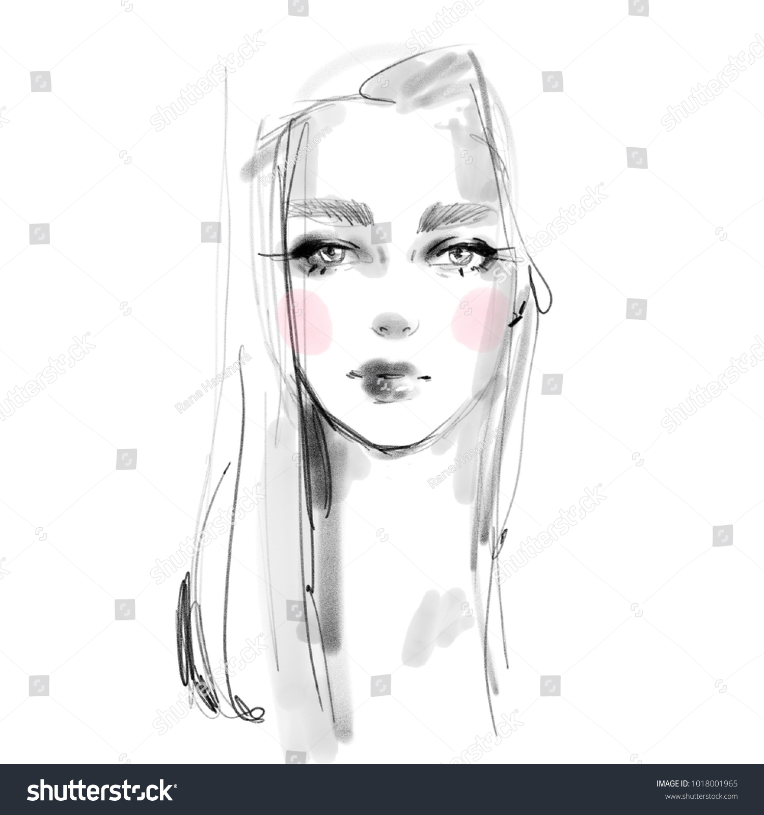 Young girl face with pink blush cheeks black and white pencil sketch portrait beautiful woman