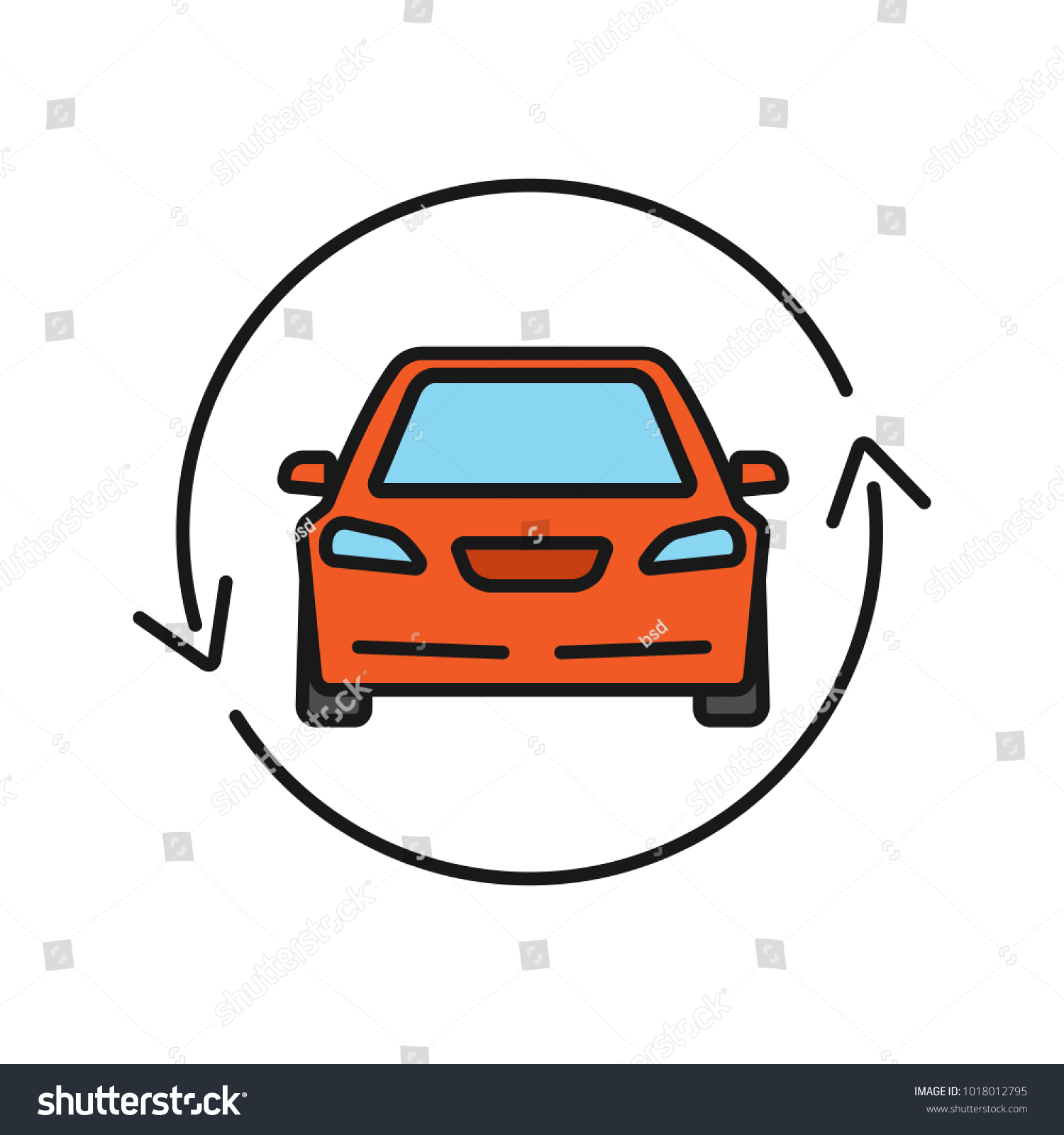 Car Circle Arrow Color Icon Complete Stock Vector Royalty Free