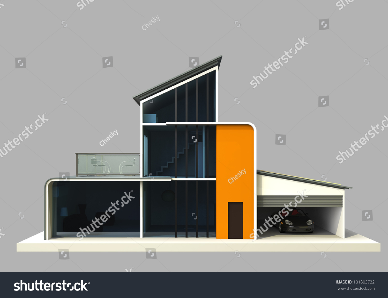designer house painting in orange color front view stock. Black Bedroom Furniture Sets. Home Design Ideas