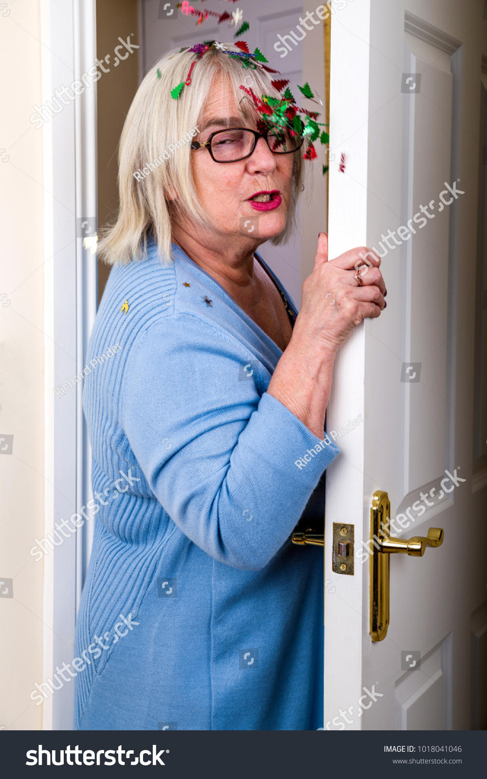 April Fools Day Trick Lady Walking Stock Photo Edit Now 1018041046