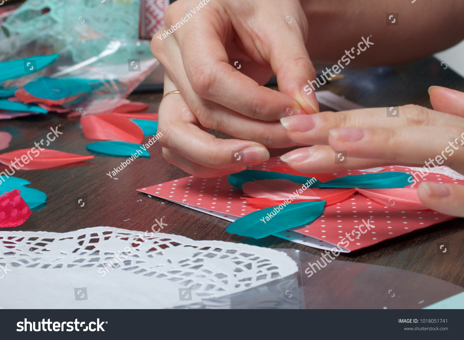 Girl Engaged Making Greeting Cards Home Stock Photo Edit Now