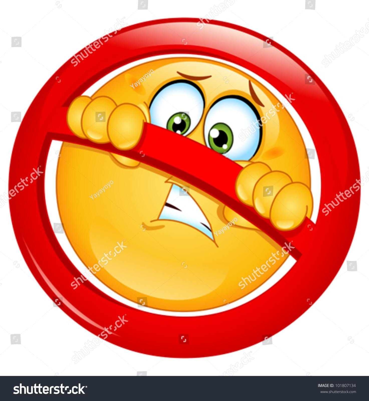 Emoticon Behind A Not Allowed Sign Stock Vector ...