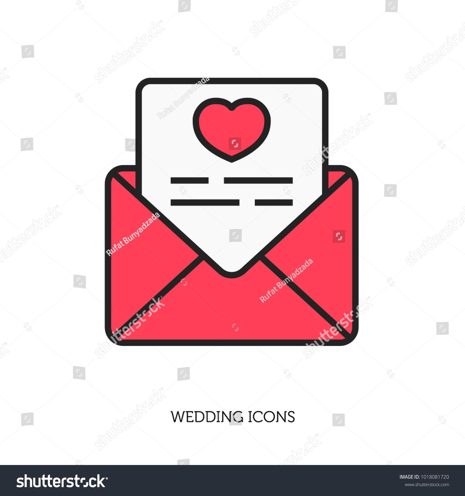 Wedding Invitation Letter Icon Stock Vector (Royalty Free ...