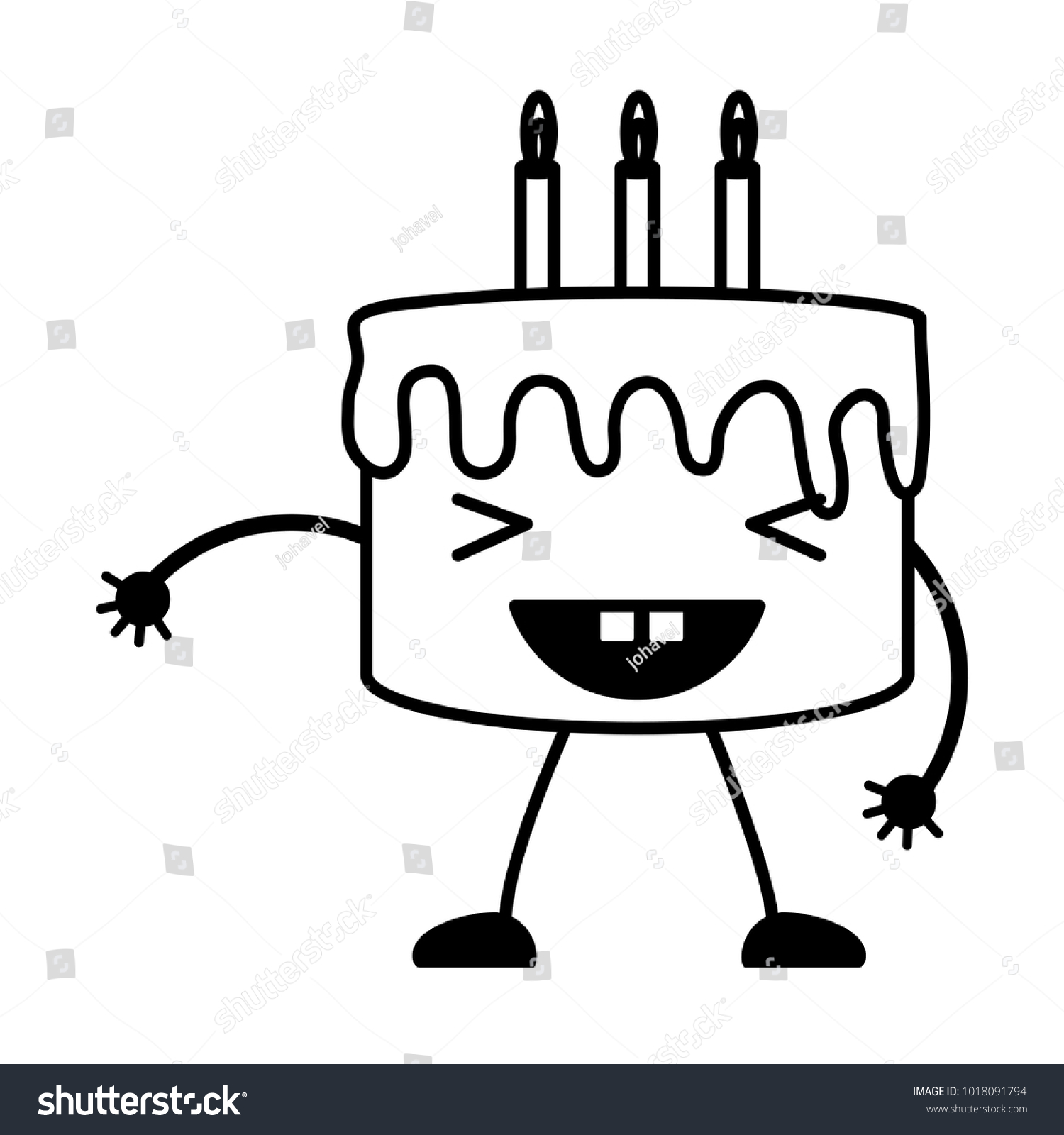 Kawaii Birthday Cake Icon Stock Vector 1018091794 Shutterstock