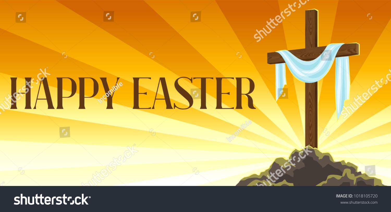 Silhouette Wooden Cross Shroud Happy Easter Stock Vector 1018105720