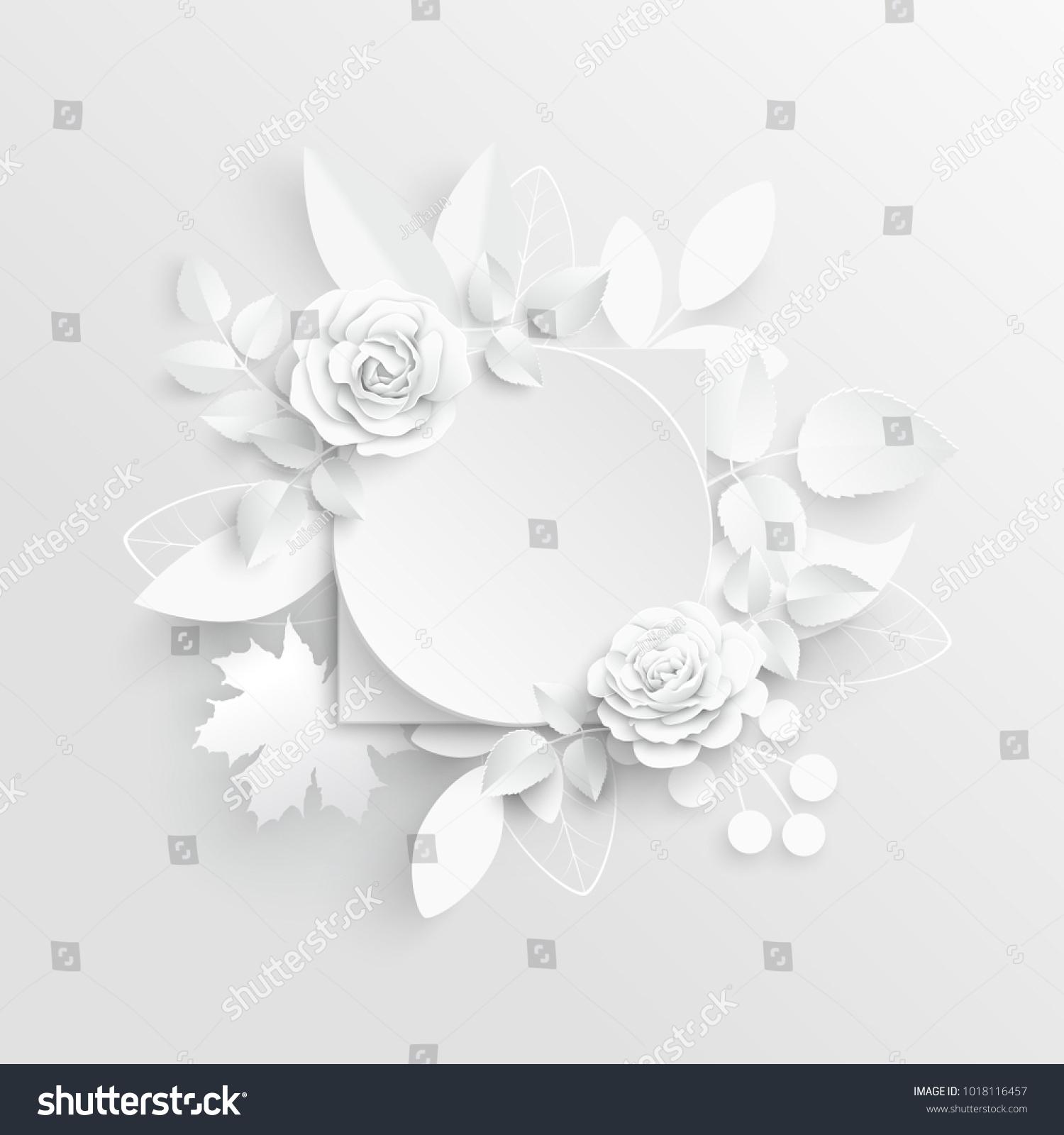 Paper Flower Frame White Rose White Rectangular Photo Frame With