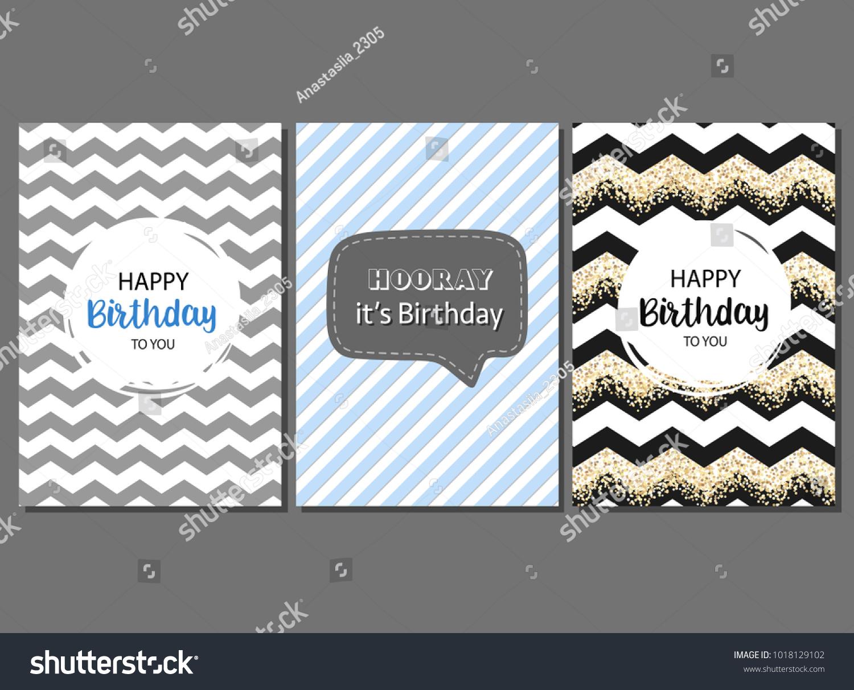 Set Vector Cards Man Birthday Greeting Stock Vector Royalty Free
