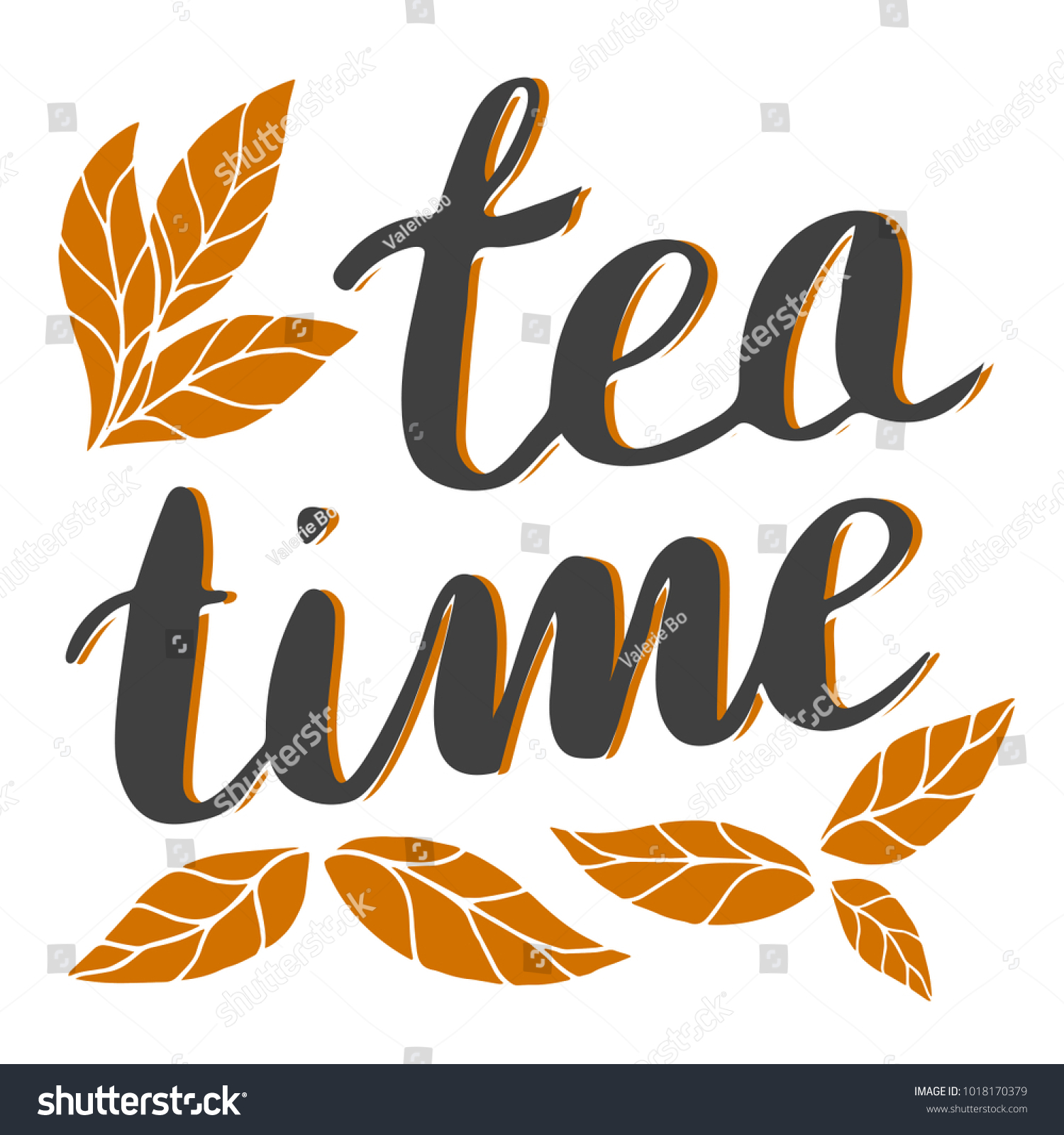 Hand Drawn Tea Time Lettering Sign Stock Photo (Photo, Vector ...