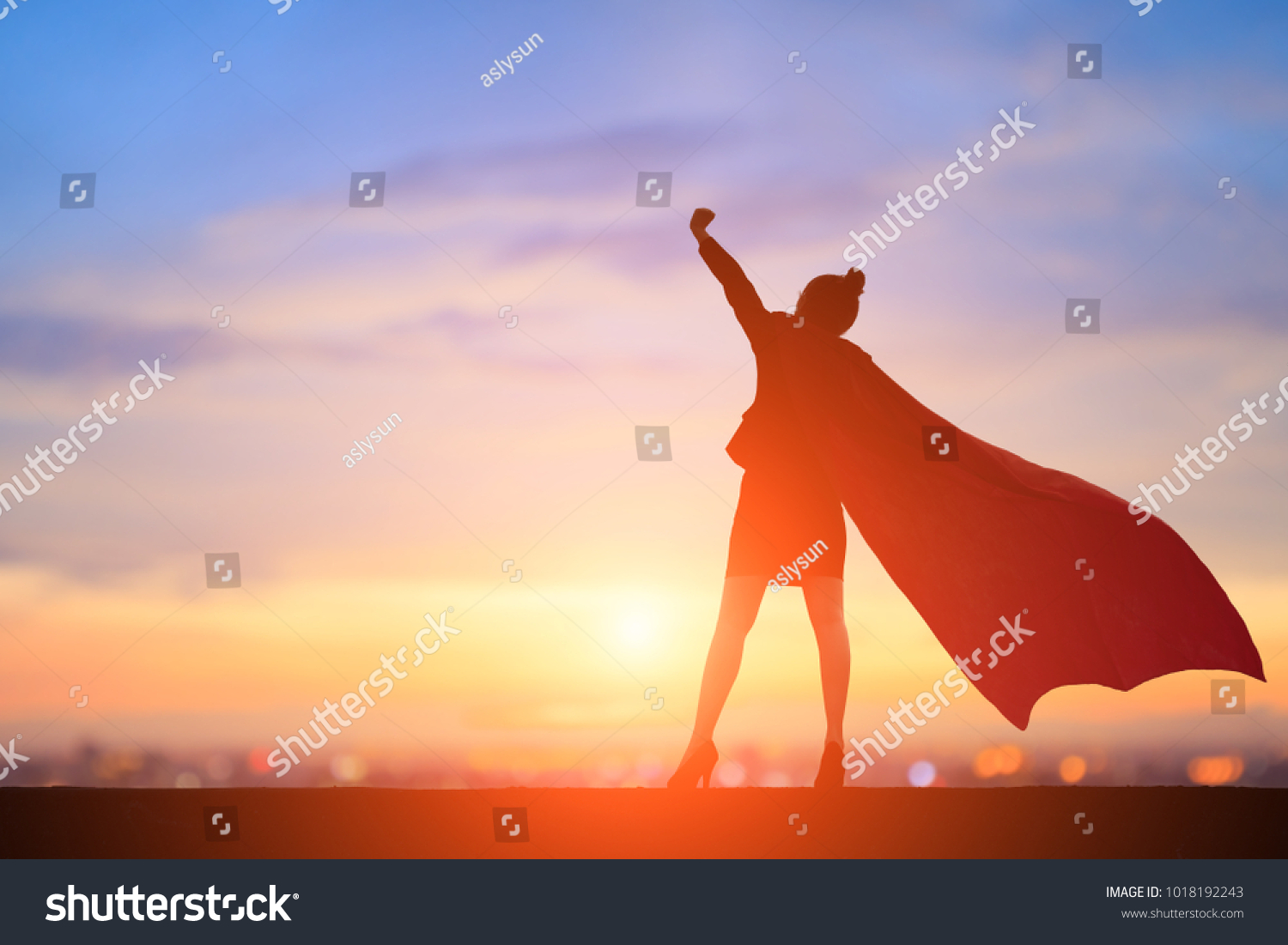 silhouette of super business woman feel excited with sunset #1018192243