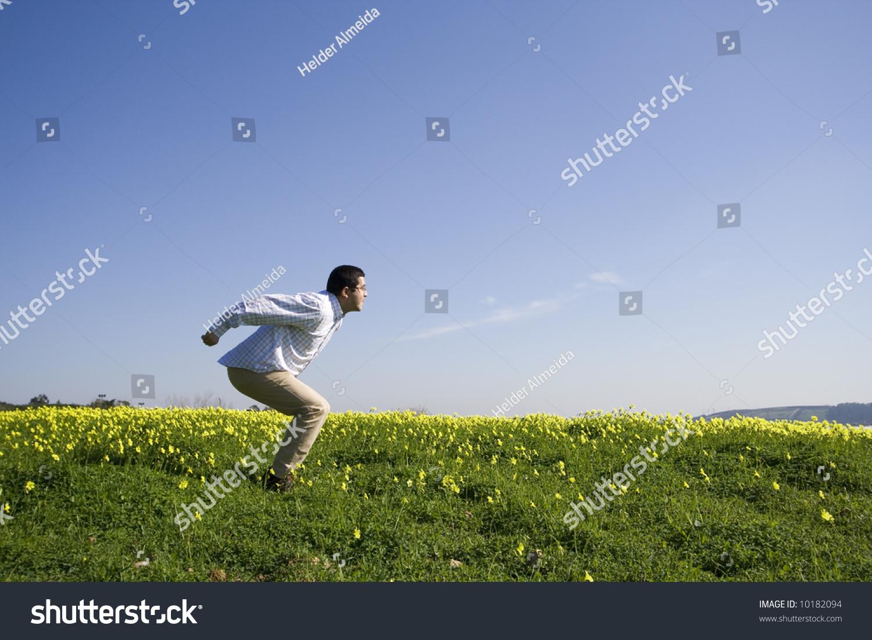 caae972e3db Men Getting Ready Jump Field Stock Photo (Edit Now) 10182094 ...
