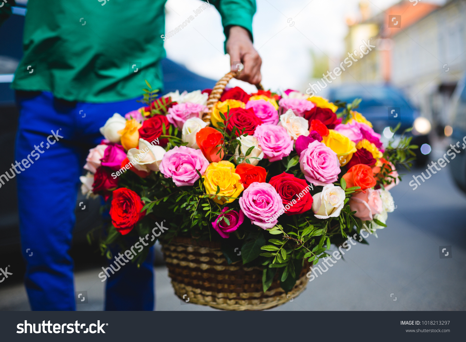 Flower Delivery Man Holding Big Bouquet Stock Photo Edit Now