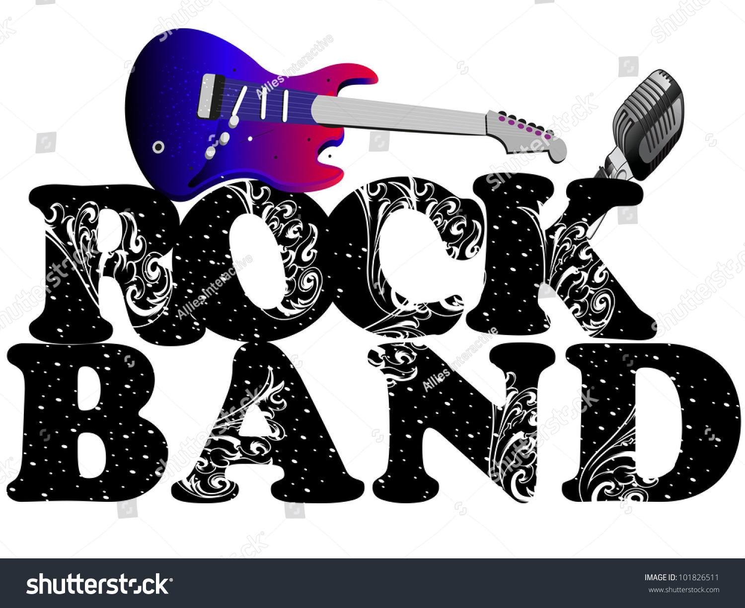 Text Rock Music Monochrome Music Bands 2652x2284 Wallpaper: Retro Musical Background Guitar Microphone Floral Stock