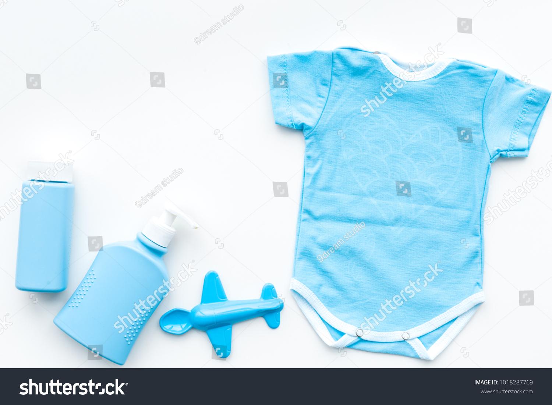 Blue Baby Clothes Little Boy Bodysuit Stock Photo (Edit Now