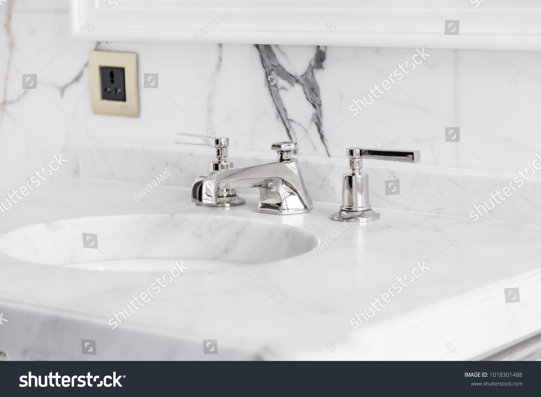 Closeup Faucet Lavatory White Marble Restroom Stock Photo (Edit Now ...