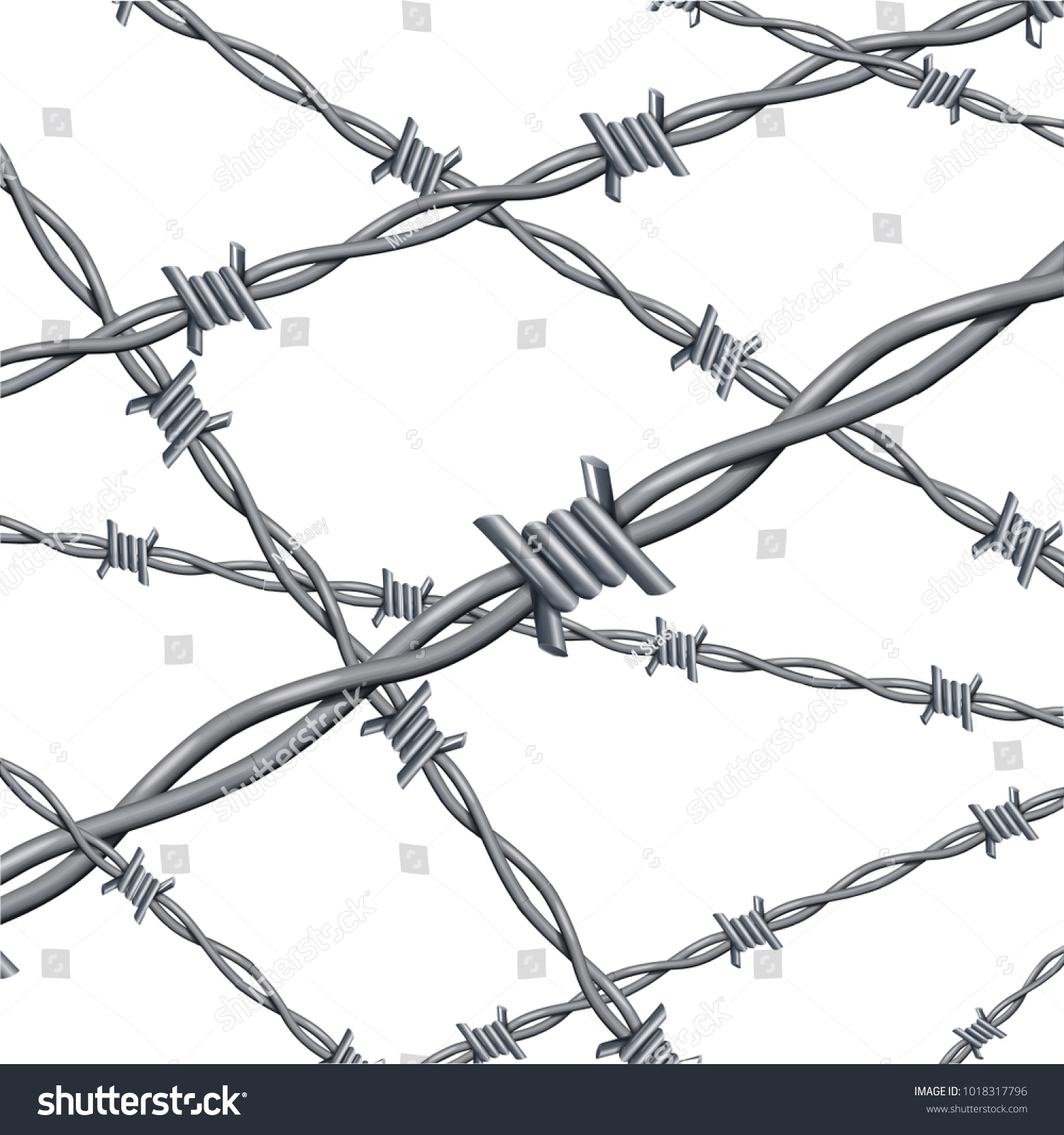 Realistic 3 D Detailed Barbed Wire Iron Stock Vector 1018317796 ...