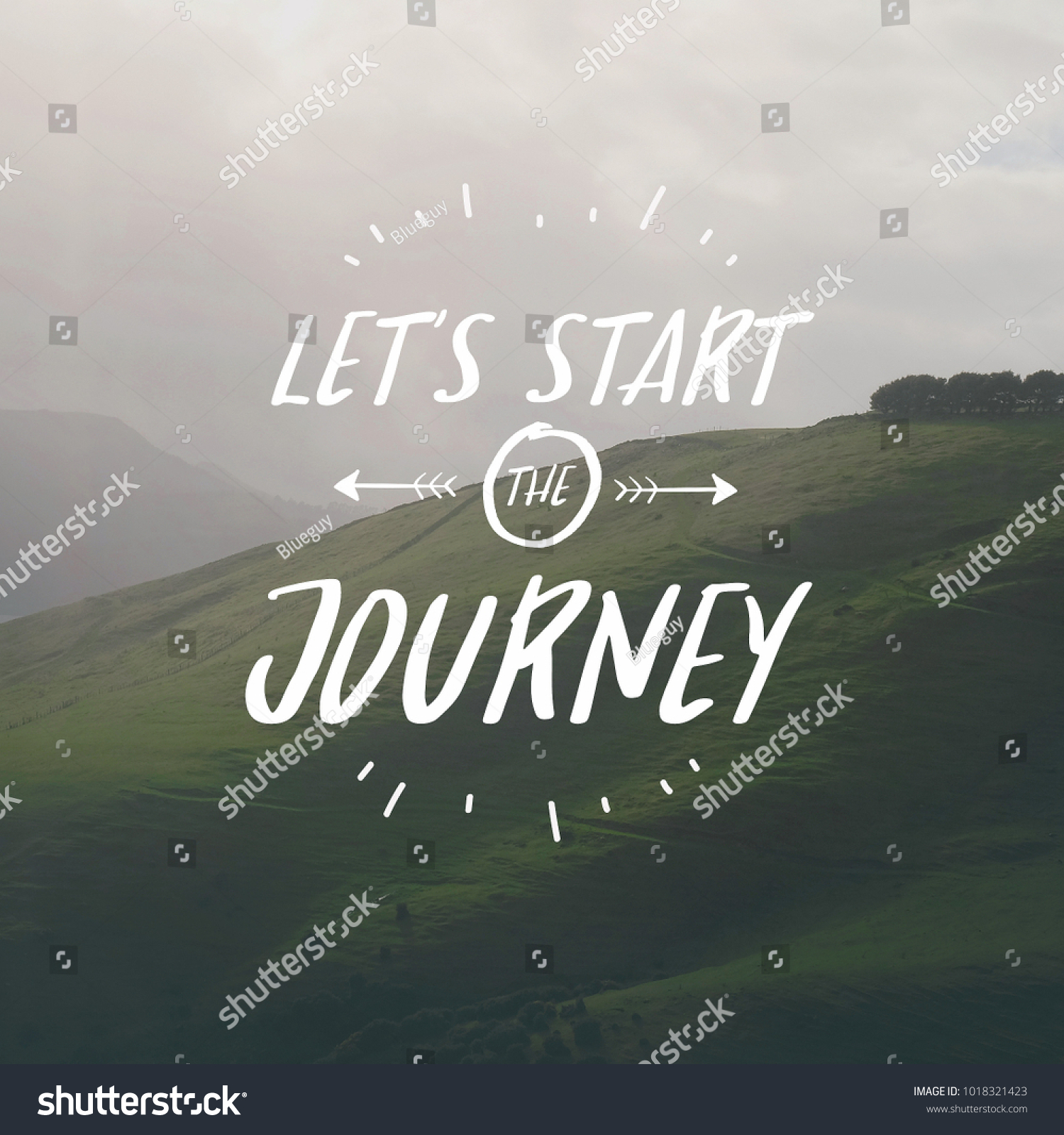Inspirational Quotes Lets Start Journey On Stock Photo Edit Now