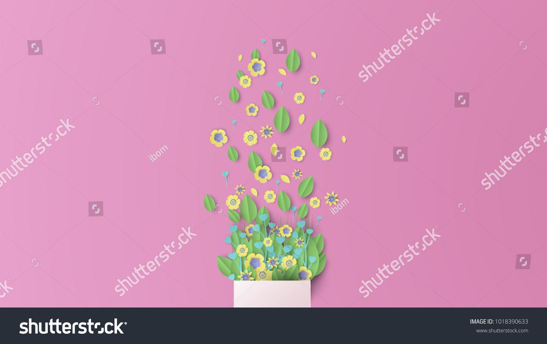 Illustration Design Bouquet Paper Craft Style Stock Vektorgrafik