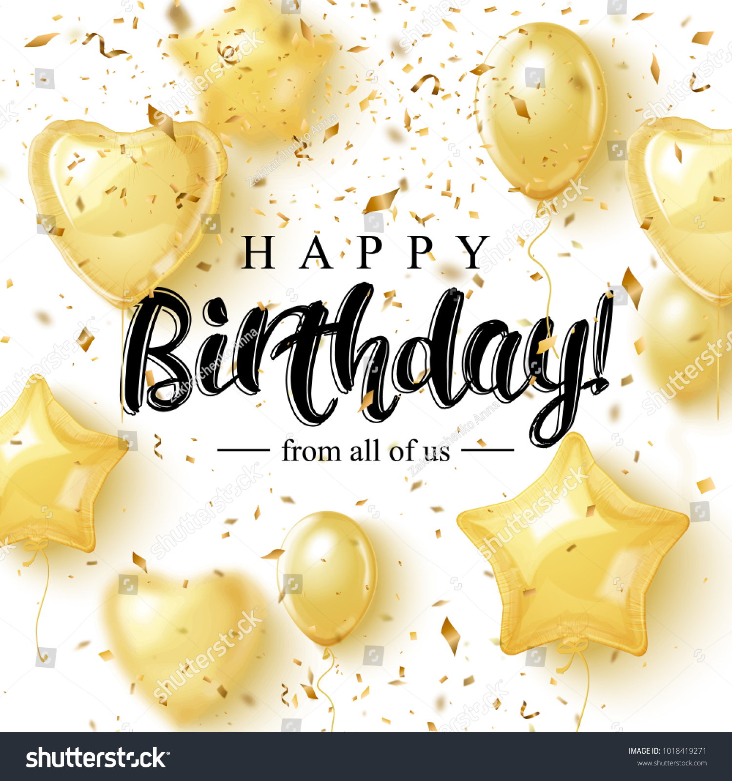 Happy Birthday Greeting Card Design Golden Stock Vector 1018419271