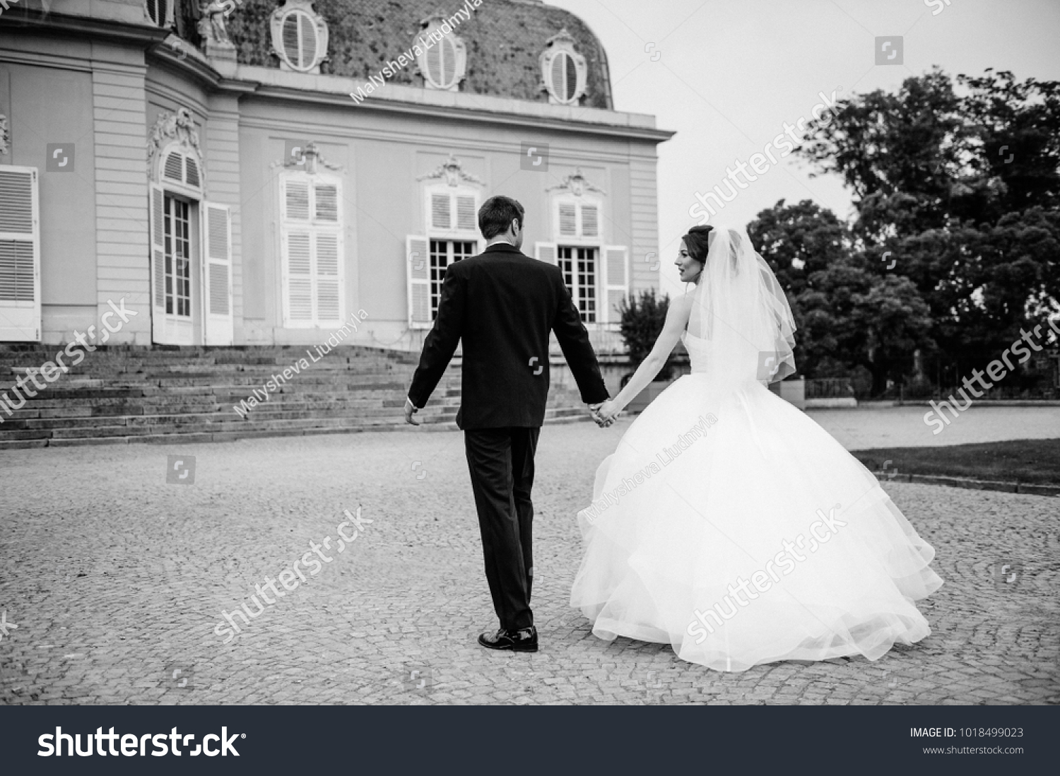 Black And White Photo European Wedding In An Old Castle Pink: Black Suit Pink Wedding Dress At Reisefeber.org