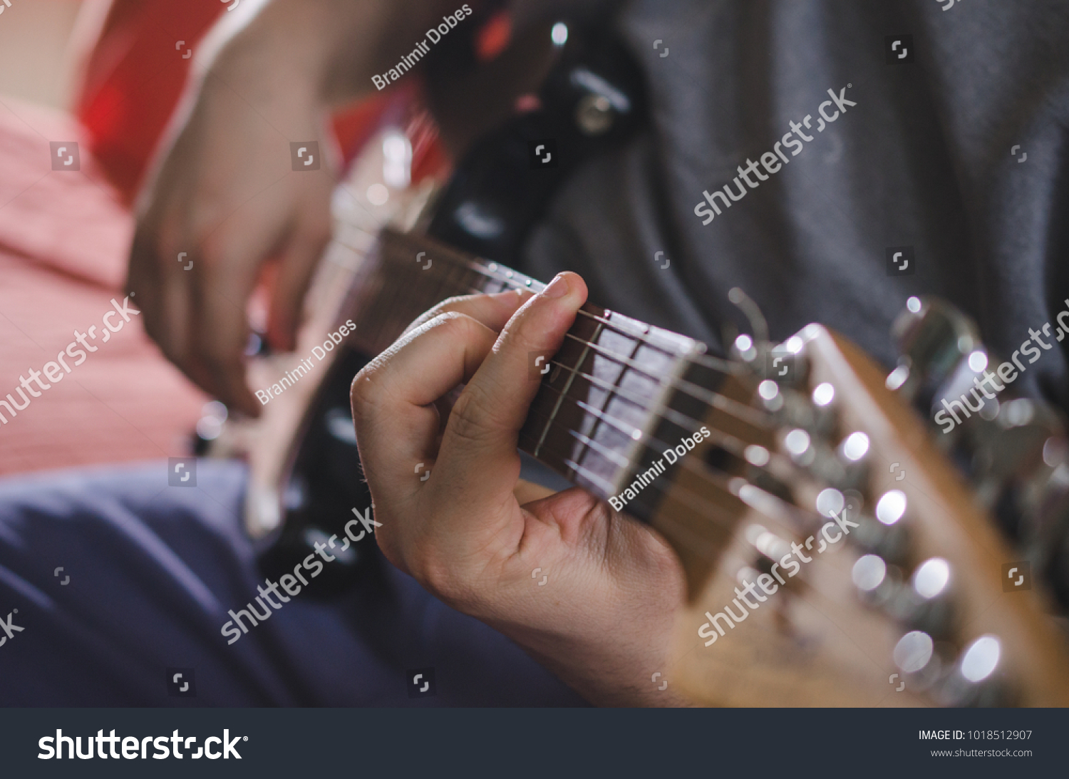Musician Hands Playing Chords On Electric Guitar Ez Canvas