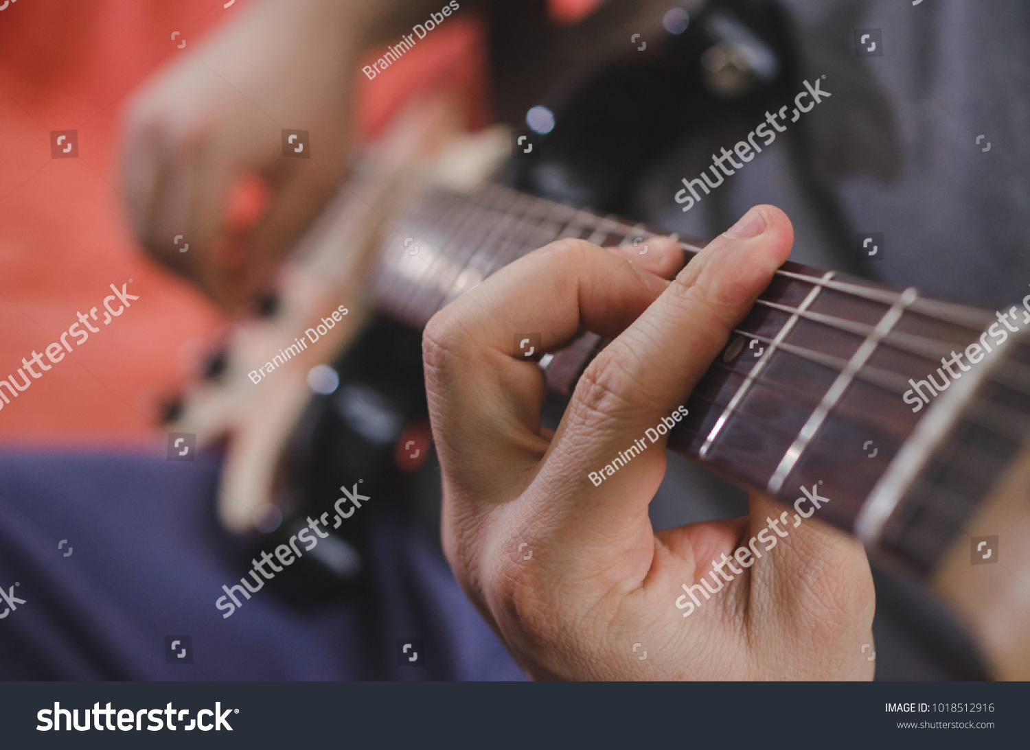 Musician Hands Playing Chords On Electric Stock Photo Royalty Free