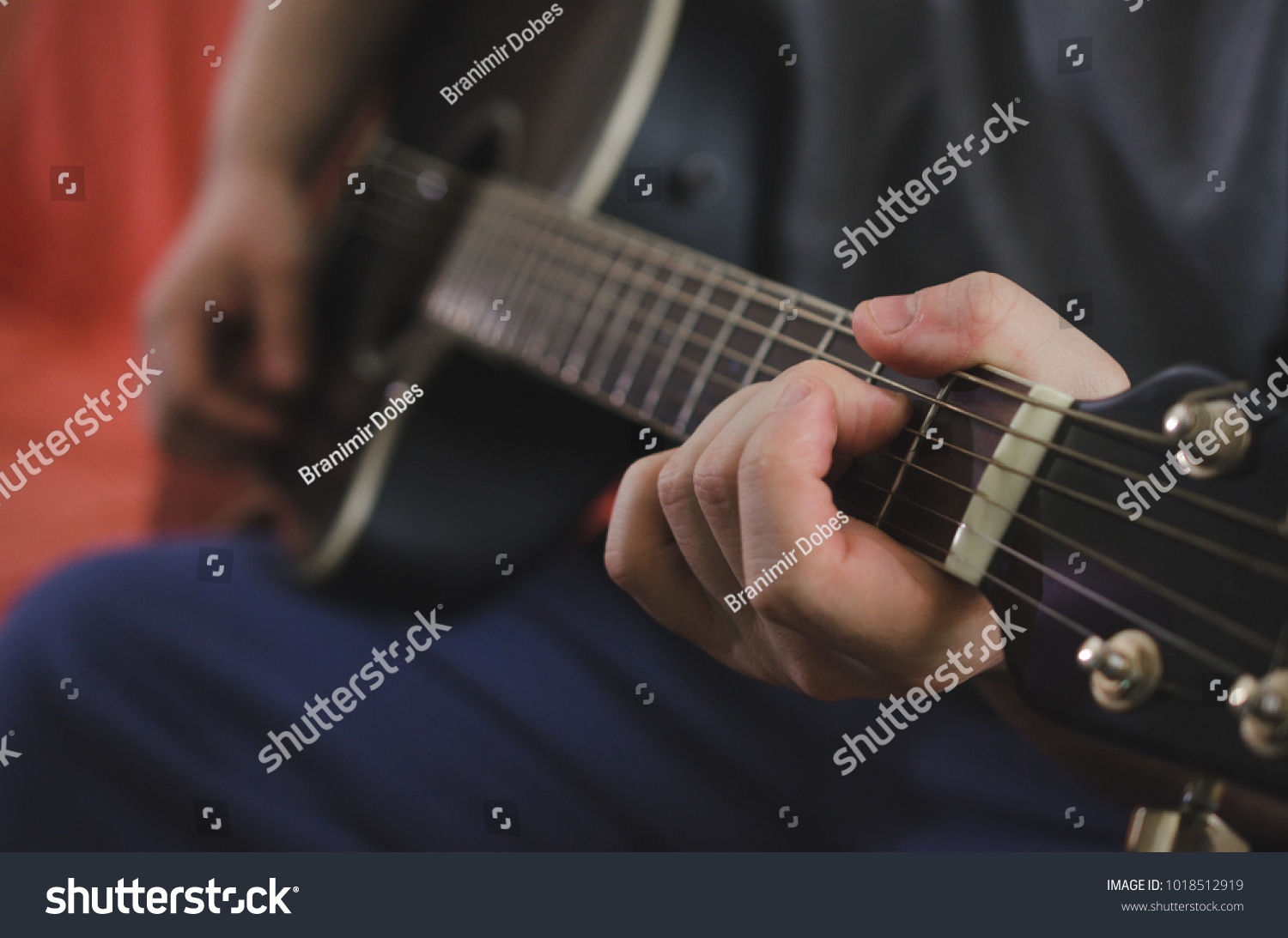 Musician Hands Playing Chords On Acoustic Guitar Ez Canvas