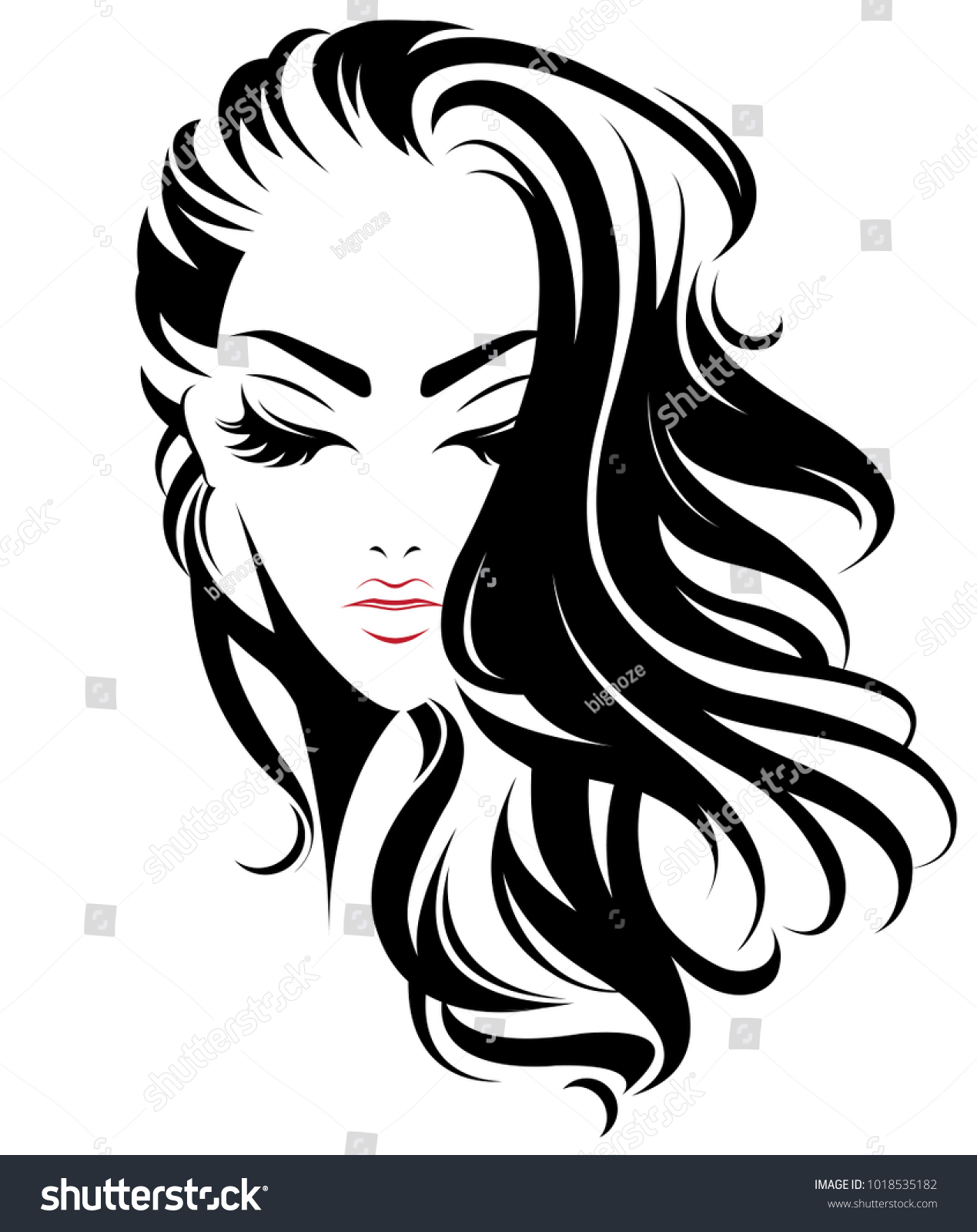 animated hair styles illustration of hair style icon logo 8468 | stock vector illustration of women long hair style icon logo women face on white background vector 1018535182
