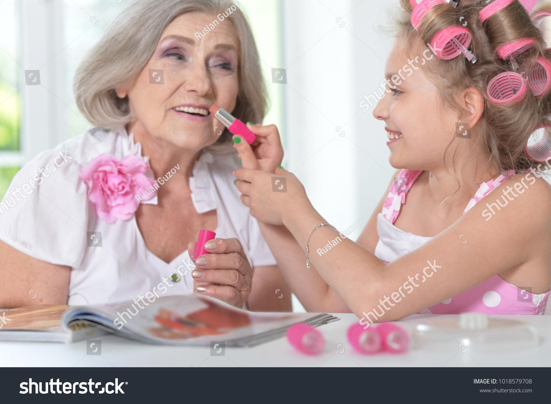 Little Girl Granny Magazine Nail Polish Stock Photo 1018579708 ...