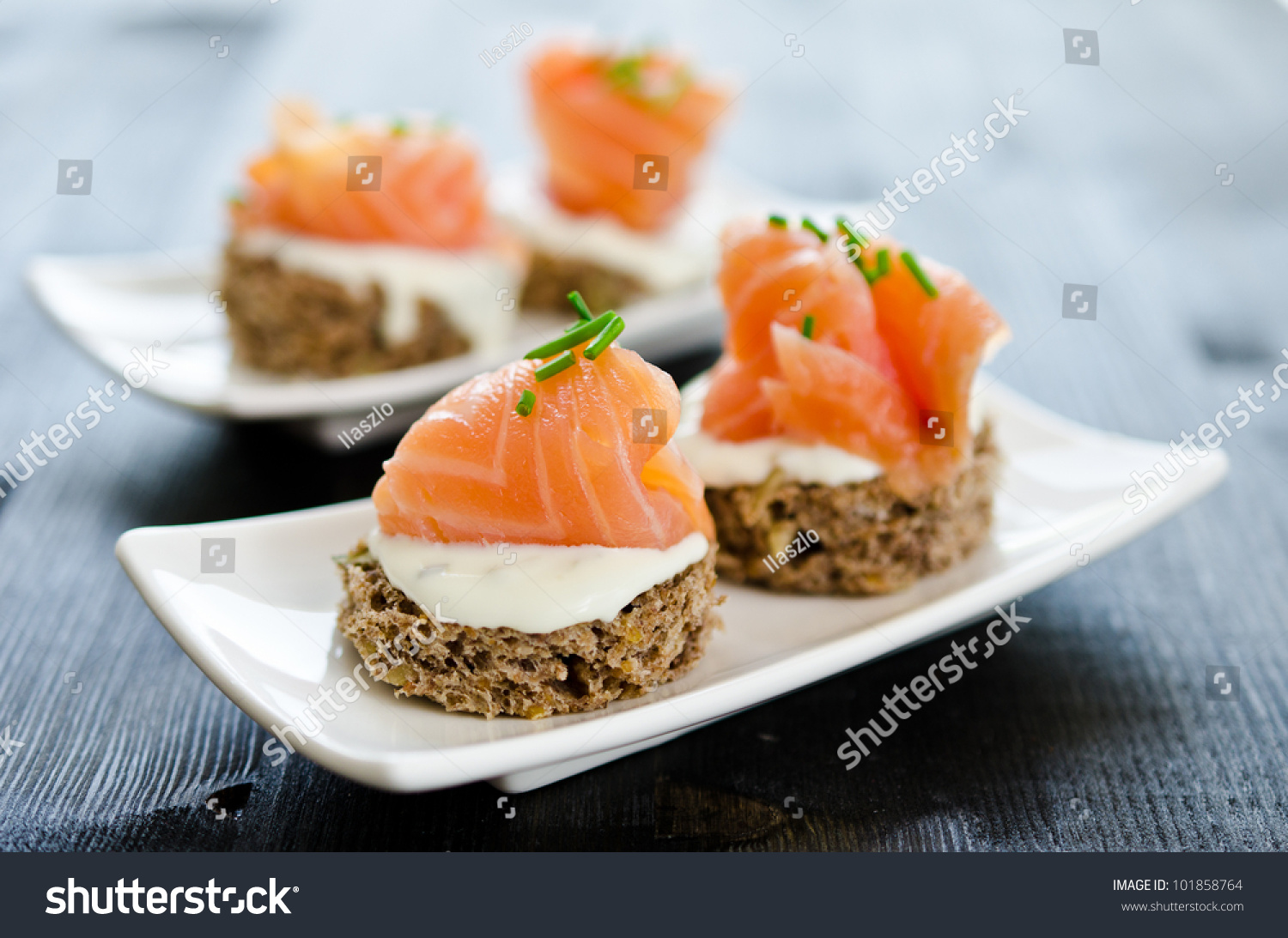 Canapes smoked salmon cream cheese stock photo 101858764 for Cream cheese canape