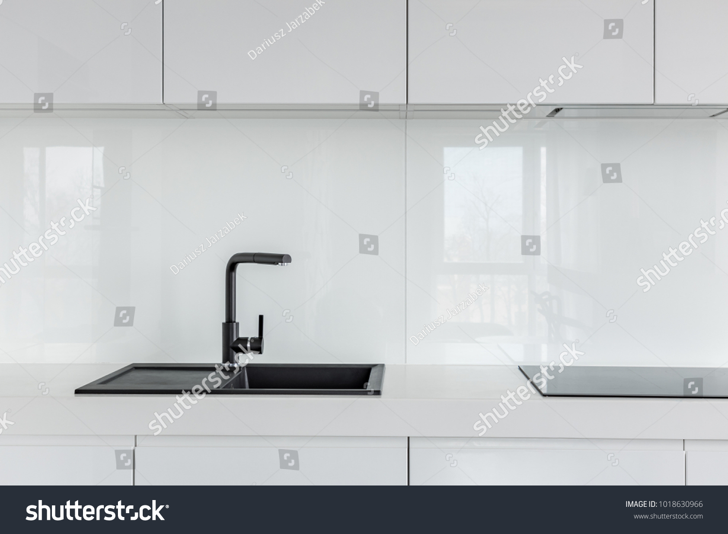 High Gloss Cabinets Countertop Black Composite Stock Photo (Download ...