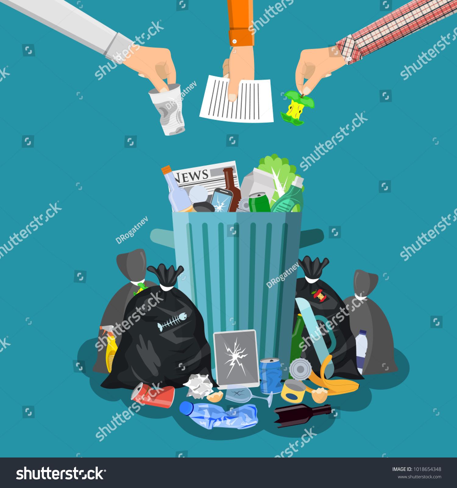 Steel Garbage Bin Full Trash Overflowing Stock Vector 1018654348 ...