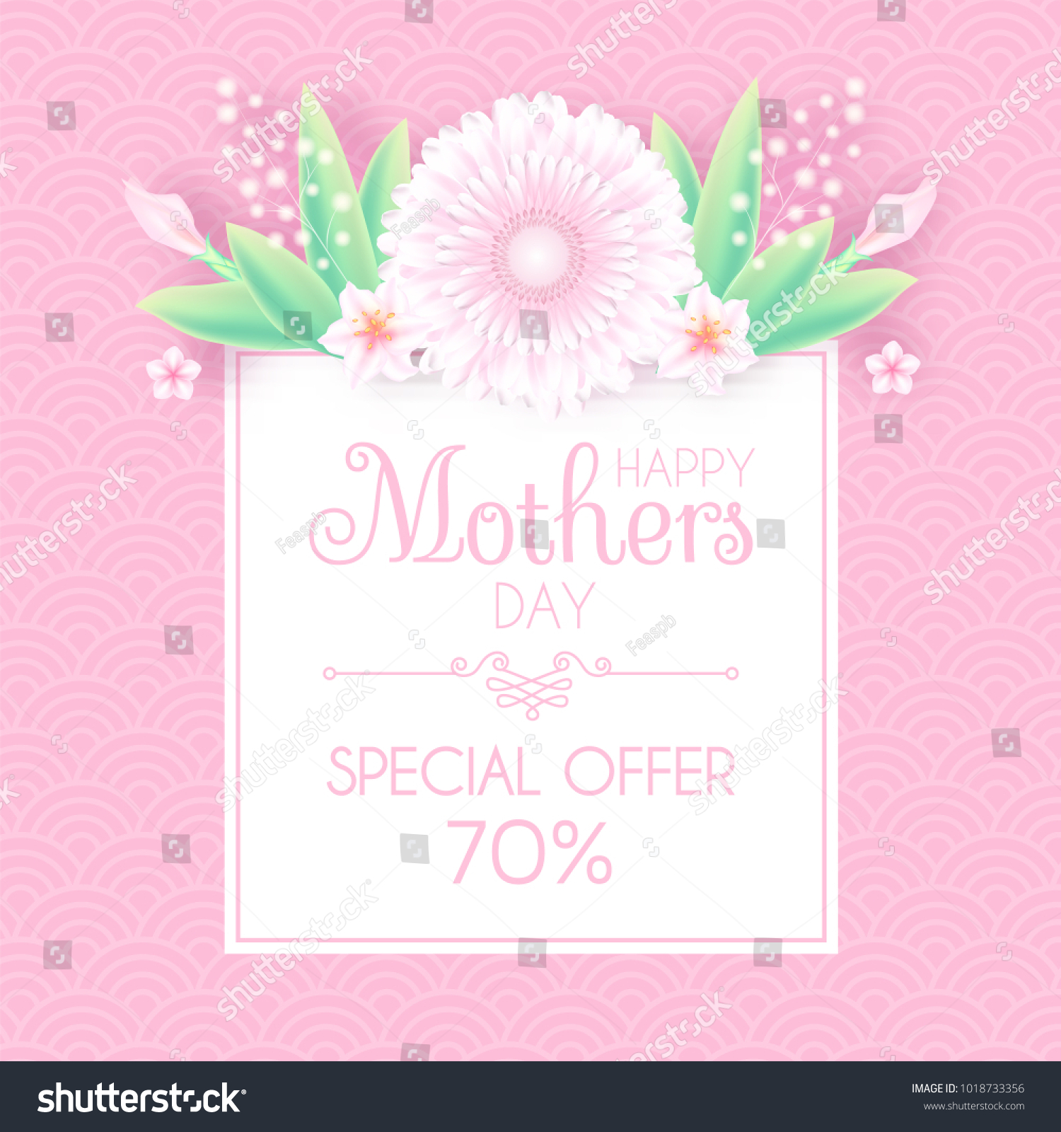 Mothers Day Greeting And Invitation With Soft Flowers Cute Card